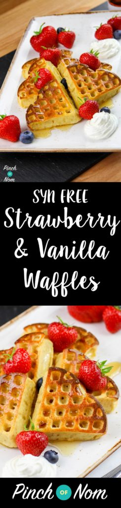 Syn Free Strawberry & Vanilla Waffles | Slimming World | pinchofnom.com