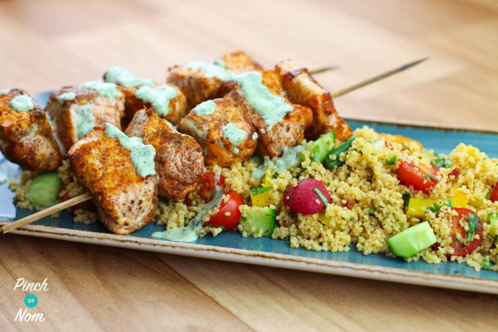Low Syn Cumin Dusted Salmon Skewers with Moroccan Style Cous Cous